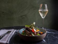 Seasonal Salad and Sparkling Wine